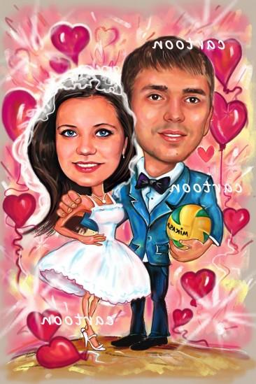 Свадебный шарж с оригинальным сюжетом в Мурманске!