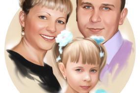 Семейный портрет по фото на холсте в Мурманске — правильный подарок!